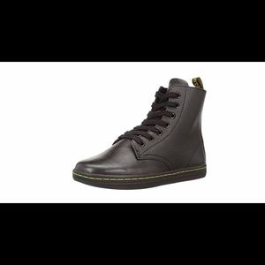 DR. MARTENS Black Leather LEYTON Boots NWT